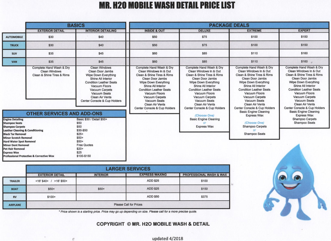 MR H2O MOBILE WASH AND DETAIL PRICES